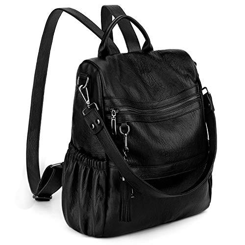 UTO Zaino per Donna Casual borsa ANTIFURTO Pelle sintetica e Zainetto con nappe per Viaggio o il tempo libero Nero