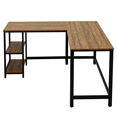 CENSUNG Escritorio de ordenador, escritorio industrial con tablero de madera y marco de metal, para oficina, hogar, salón, dormitorio, roble vintage (B)