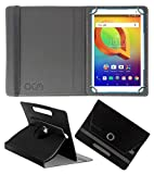 Acm Rotating Leather Flip Case Compatible with Alcatel A3 10 (Volte) Tablet Cover