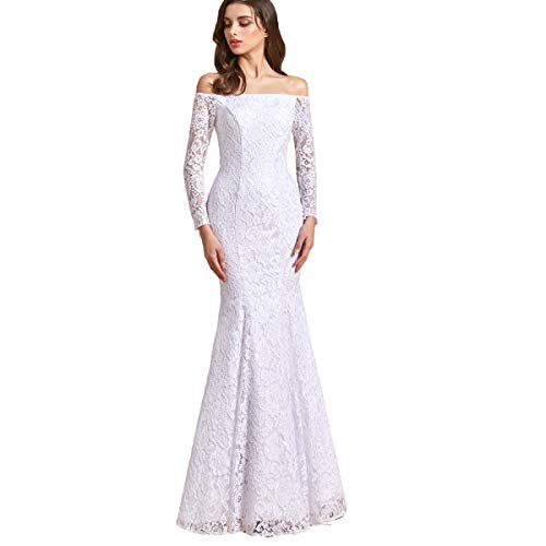 TTYbridal Women's Off Shoulder Lace Wedding Dress Long Sleeves Mermaid Bridal Gown for Bride with Lace Up White Custom-Made
