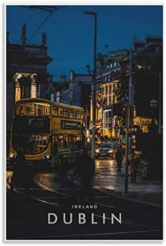 APAZSH Lienzos Decorativos Hermosos Poster de I RELAND Dublin en la Noche, póster de Arte en Lienzo y Decoracion de impresión de Cuadros artística de Pared 50x70cm x1 Sin Marco
