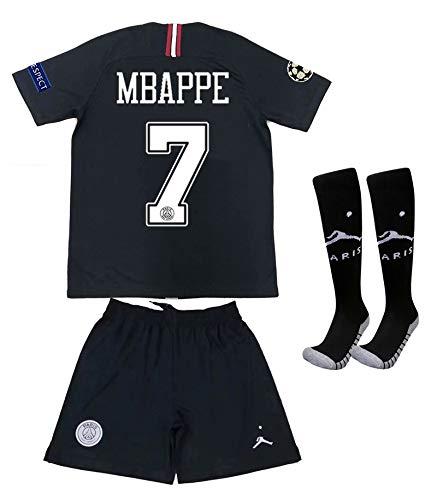 SHWLDJSB 2018/2019 Season Paris MBAPPE #7 Away X Kids/Youths Soccer T-Shirts Jersey & Shorts & Socks 8-9 Years Black