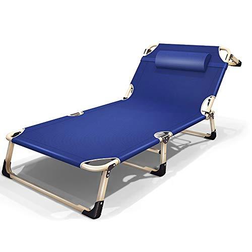 LSX Klappbett Verdickung Verstärkung Vierfußbett Outdoor Camping Tragbares Feld Camping Bett Heim Freizeit Bett Büro Nickerchen Bett 194cm, 2 Farben, 2 Stile Klappbett (Color : Blue, Size : A)