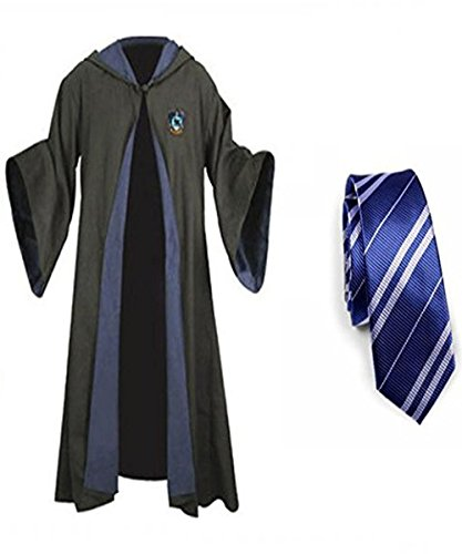Great Adult Kids Harry Potter Robe Gryffindor Slytherin Ravenclaw Hufflepuff Cosplay Costume Cape and Tie (Ravenclaw Robe&Tie, X-Large)
