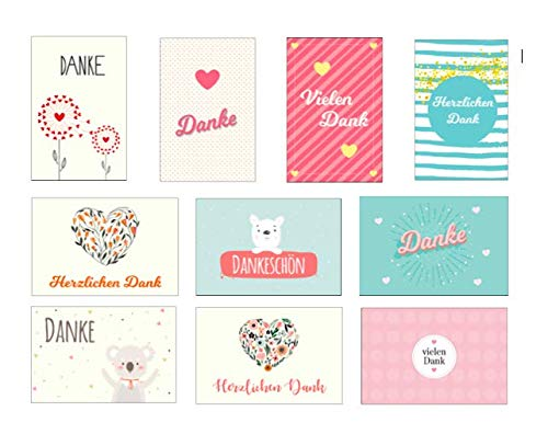 10 Stück Premium Dankeskarten (Klappkarten) mit 10 Umschlägen, Danke, Dankeschön, Karten, Dankekarten, Hochzeit, Geburt, Baby, Taufe, Abschied, Geburtstag, Jubiläum
