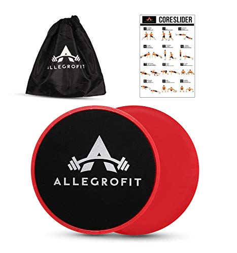 AllegroFit Core Sliders Fitness Dual Sided Strength Slides set Gliding Discs with Carry Bag & Manual. Abdominal Exercise Equipment for six-pack. Carpet or Hardwood Floors. Lightweight for Home Workout