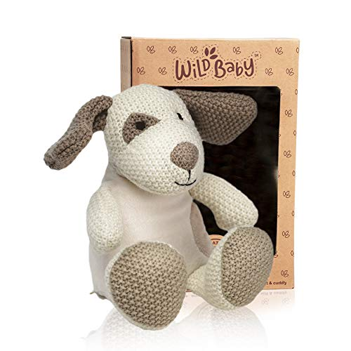 WILD BABY Puppy Dog Stuffed Animal - Heatable Microwavable Plush Pal with Aromatherapy Lavender Scent for Kids - 12'
