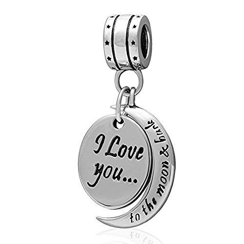 """Pendente per bracciali con charm e collane Pandora, in argento Sterling 925, con scritta """"I love you to the moon & back"""", fantastico regalo da donna per la mamma o la ragazza"""