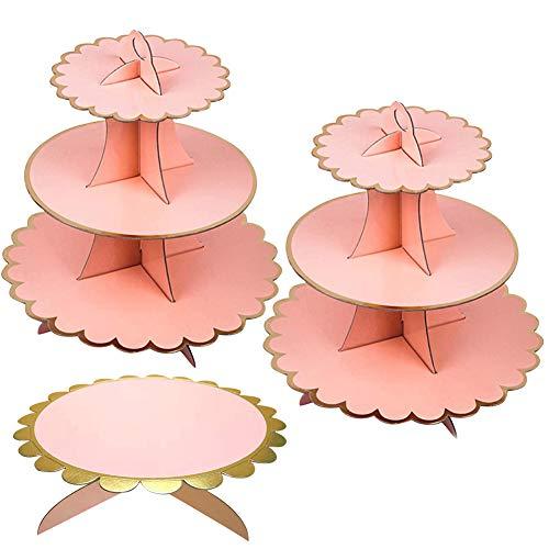 JINLE 3 Pezzi Alzata per Cupcake in Cartone Rosa,Torre per Dessert a 3 Piani e 1Tier Cake Stand per Festa di Compleanno, Matrimonio, Baby Show