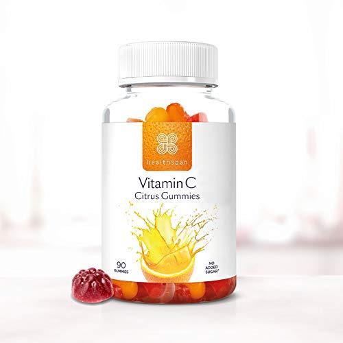 Vitamin C Citrus Gummies | Healthspan | 100% NRV Vitamin C | Boosts Immunity & Contributes to Normal Collagen Formation | Citrus Flavoured | No Added Sugar (90 Gummies)