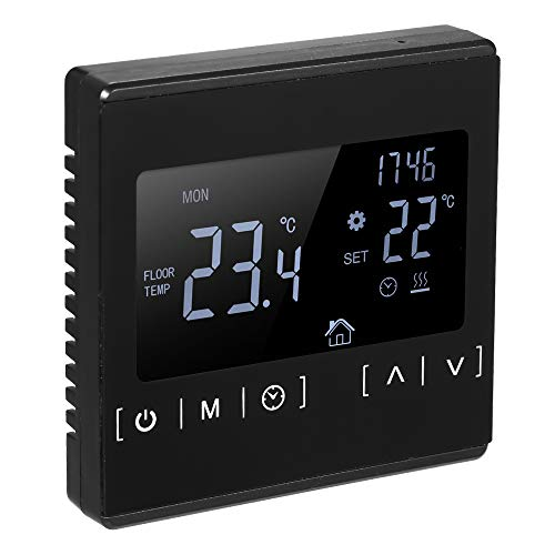 Suelo Radiante Electrico con Termostato Control Horario Temperatura,termostatos Digitales para Suelo Radiante de Pared Calefaccion Programable digital 220v LCD Táctil-Negro