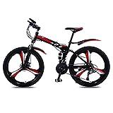XYSQ Vitesse VTT Vélo, Adulte Vélo Pliant en Acier Au Carbone À Haute Pleine Suspension Cadre Pliant Vélos, Pliant 26 Pouces Double Freins À Disque (21 Vitesses) (Color : Red, Size : 26 in)