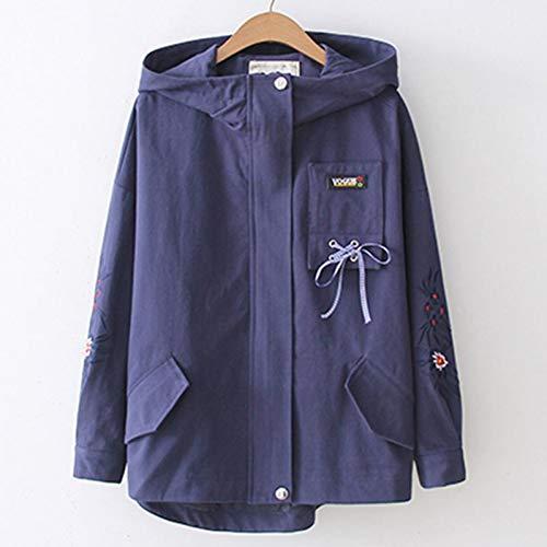 NSWTKL Damesjas jas Collegemantel met capuchon geborduurd dames plus-size bomberjacks in Japanse stijl dames lange mouwen mantel herfst outwear