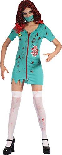 Halloween Party Kostüm Zombie Chirurg Damen-Kostüm (Kleid & Maske ) UK Größe 10-14