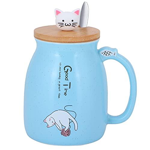 Houinmru Taza de café, Taza de cerámica fácil de Beber para café, té, cóctel, champán, Cerveza, Jugo, refrescos y Otras Bebidas.(Blue Spoon with Lid)