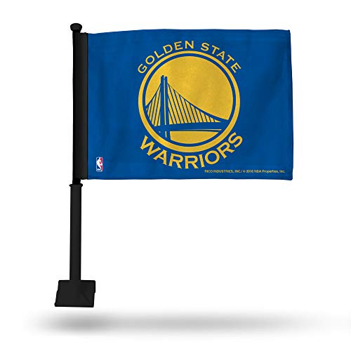 NBA Golden State Warriors Car Flag, Blue, with Black Pole