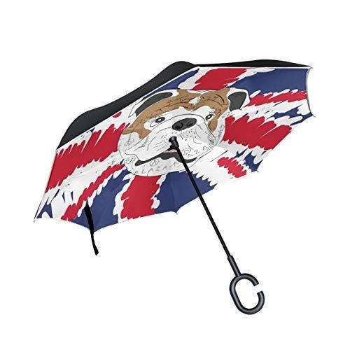 Paraguas invertido, Bulldog inglés, Paraguas Resistente al Viento, Paraguas invertido, Paraguas con protección UV, Paraguas de Boca Abajo con Mango en Forma de C