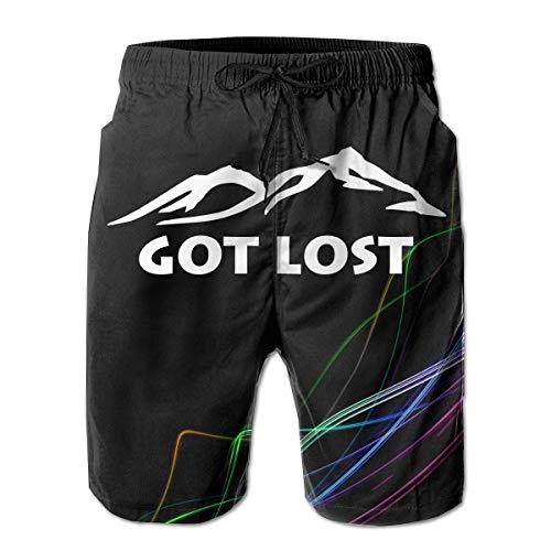 Elsaone Holen Sie Sich Lost Mountains für Männer Boardshorts Badehose Beachwear Athletic Gym Trunks M.