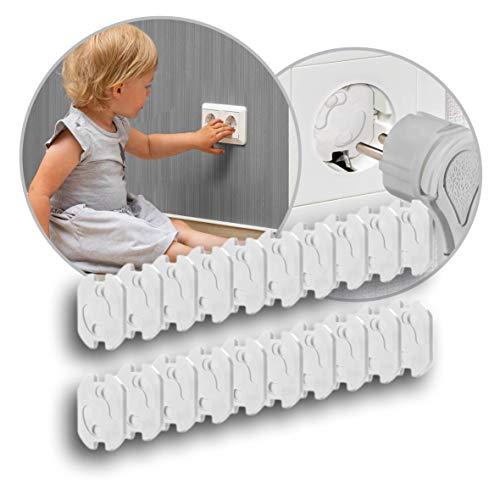 Reer Steckdosen-Schutz - Das kindersichere Original vom Erfinder: 20 Stück, zum Kleben, intensiv getestet, weiß