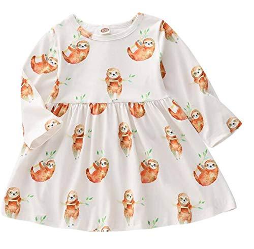 Borlai Baby Mädchen Tutu Kleid Neugeborenes Tier Faultier Print Rock Party Tutu Sommerkleid 0-24 Monate (Weiß, 0-3 Monate)