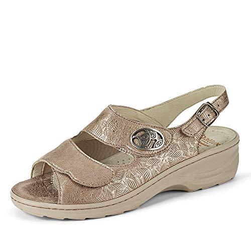 Fidelio Hedi Damen Sandale 236022 Nubukleder Klettverschlüsse Fersenriemchen, Groesse 40, beige
