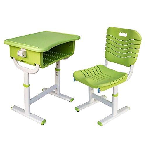 N/Z Tägliche Ausrüstungstische Ergonomischer Schreibtisch und Stuhl Set Höhenverstellbare Schreibtische Stühle mit Haken und Bleistiftnut Blau