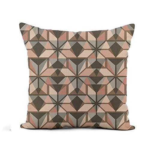 N\A Throw Pillow Cover Hygge Scandinavian Pastel Pink and Grey Nordic Winter Pattern Funda de Almohada Decoración para el hogar Funda de Almohada de Lino de algodón Cuadrada Funda de cojín