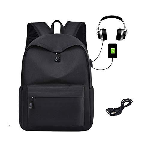 Zaino classico per studenti con porta di ricarica USB e foro per auricolari Nero L