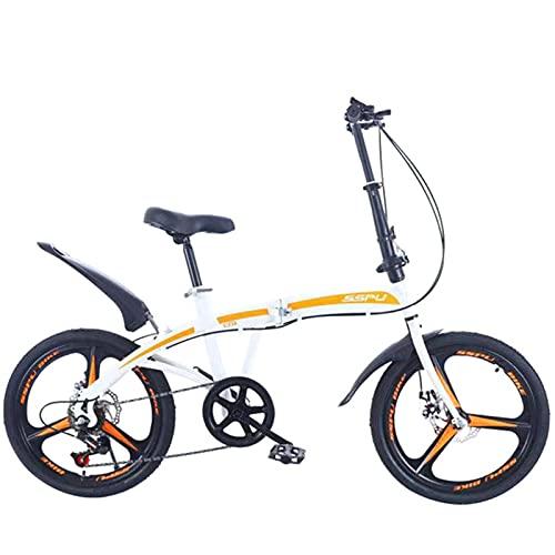 SHUI Bicicleta De Montaña Plegable De 20 Pulgadas, Bicicleta De Carretera De Velocidad Variable para Adultos, Marco De Acero Al Carbono, Ciclismo Deportivo, Hombres, Muje White 3-Spoke Wheel