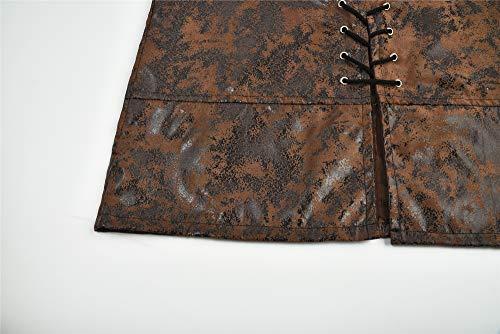 Lisso Men's Medieval Sleeveless Lace-up Vest Renaissance Gothic Steampunk Waistcoat (Brown, XXXXL)