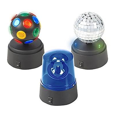Global Gizmos 45400 Set | 3 Mini Disco Mirror Ball/Police Light | Battery Operated | Kids Parties/Birthdays/Family Gatherings/Christmas, Black