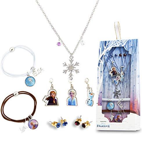 Disney Frozen 2 Schmuck Kinder Mädchen, Süße Ohrringe Mädchen, Die Eiskönigin Set Armband und Halskette mit Anna und ELSA, Charms Anhänger, Kleine Geschenke für Kinder