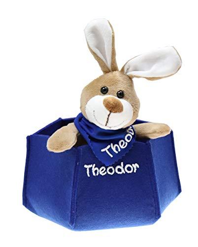 Osterkörbchen blau Filz mit Hase personalisiert Geschenk zu Ostern mit Namen Set aus Kuscheltier und Osternest Ostergeschenk