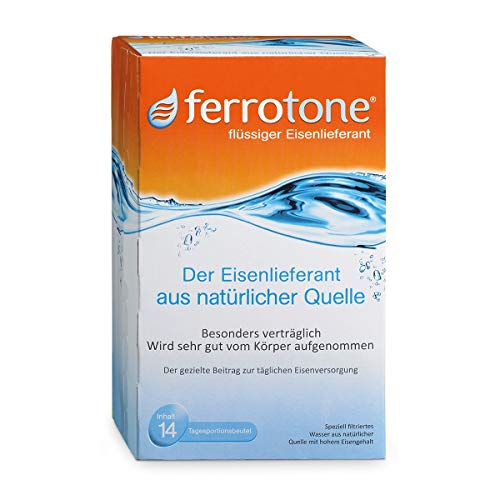 Ferrotone: Eisen in Wasser aus natürlicher Quelle, sehr gut aufnehmbar und verträglich, flüssig, 14 x 25ml Beutel