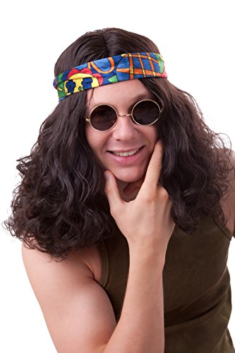 Hippy Wig For Men Brown 60s 70s Hippie Wig by Marco Porta Faschingskostüme Ltd. & Co. KG