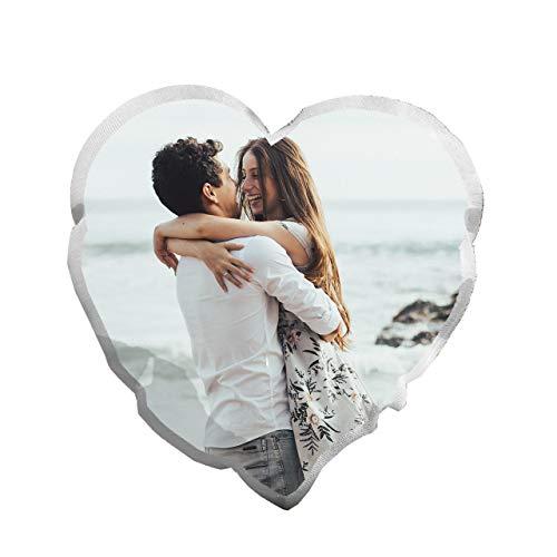 Cojin Fondo Blanco en Forma de Corazón. Personaliza tu cojín con tu Foto Favorita. Impresión en cojín de Alta resolución. Medidas 40 * 45cm