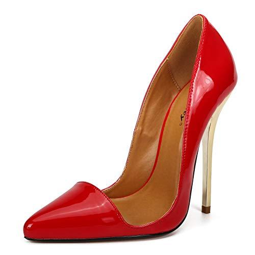 Damenschuhe Spitze Stiletto Plateau, MWOOOK-991 Sexy Party Freizeit Hochzeit Abend Schuhe Sommer High Heel,Plus Größe,Rot,45EU