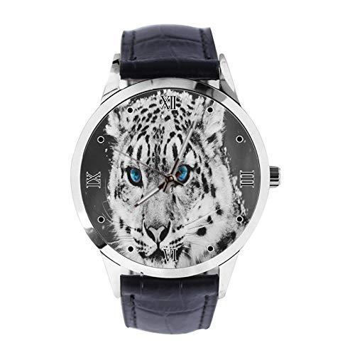 Witte Tijger Behang Aangepaste Polshorloge Unisex Analoog Quartz Horloge met Lederen Band Horloges voor Meisjes Jongens Polshorloge