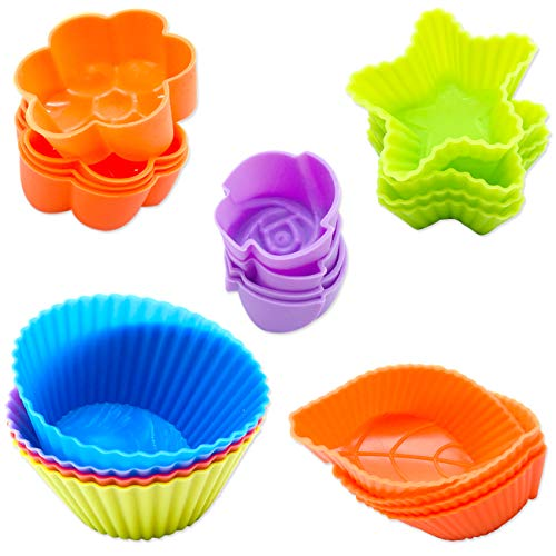 AYWFEY 20 Pack Silicone Cupcake Liners Baking Cups,5 Shapes Reusable Muffin Cup Cake Molds Set for Making Candy Chocolate Ice Cube Bread,Stars, Round, Flowers,Leaf,Rose