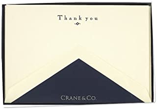 Crane & Co. Navy Hand Engraved Thank You Cards (CT3116),10 cards / 10 lined envelopes