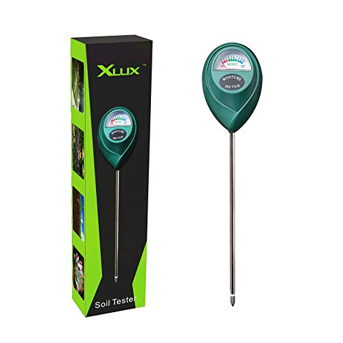 XLUX T10 Soil Moisture Sensor Meter Water Monitor, Hygrometer for Gardening, Farming, No Batteries Required