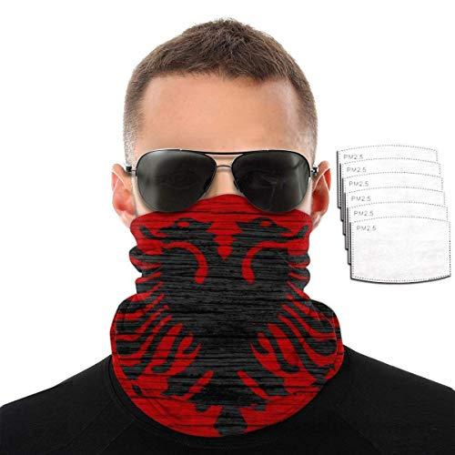 Lily-Shop Holz Textur Albanische Flagge Wiederverwendbare Bandana Gesicht Staubfilter Maske Stirnband Kopf Wickelkappe Kleidung Kleid