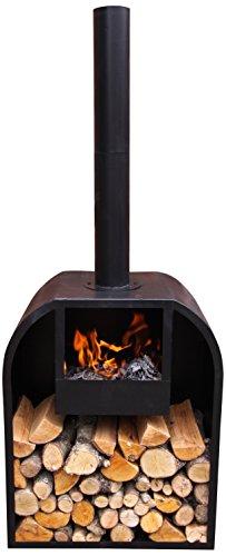 Gardeco Arno Steel Fireplace, Black, cm
