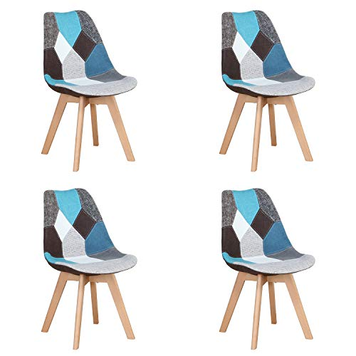 Nordic Time A - Juego de 4 sillas de comedor tapizadas, estilo retro, para comedor, cocina, dormitorio, silla de oficina (con patas de haya maciza), color azul, 4