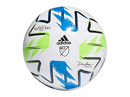 adidas MLS Nativo XXV Training Soccer Ball White/Solar Green/Glory Blue/Silver Metallic 4