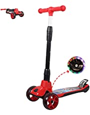 Gluckluz Kids Scooter Foldable Kick Scooter for Girls Toddlers Children Boy Ages 3-12 Years with 3 Flashing Wheels Adjustable Handlebar Safety Brake