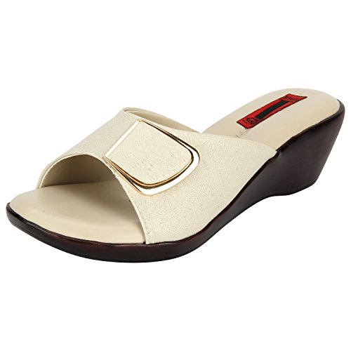 1 WALK Comfortable Women-Flats/Fashion Slippers/Casual Footwear/Party slippers/Color-CREAM/Size-3-UK/Synthetic Leather/PP-MP-E101B-36