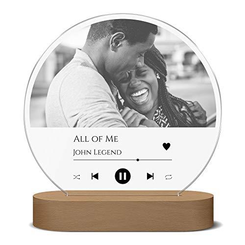 Beleuchtetes Spotify Glas Bild Acryl | LED Song Cover Foto Nachtlicht | mit Song Titel, Interpret o. Namen | weiße LED Beleuchtung (dimmbar) | tolle Geschenkidee