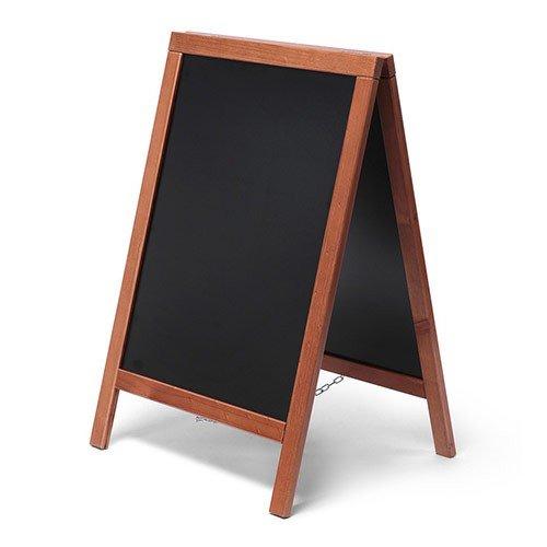 net-xpress Kundenstopper Holz außen für Gastro, Hellbraun/Teak, 55x85, Kundenstopper Tafel Restaurant Bistro Cafe Gastronomie