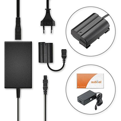subtel® Fuente alimentación Compatible con Nikon D750 D7000 D7100 D7200 D7500 D850 D810 D810a D800 D800e D610 D600 D500 Z 7 Z6 1 V1 DL24-500 DL24-85 DL18-50 EH-5B EP-5B Cable Corriente